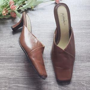 Jacqueline Ferrar Cognac Leather Kitten Heel Mules